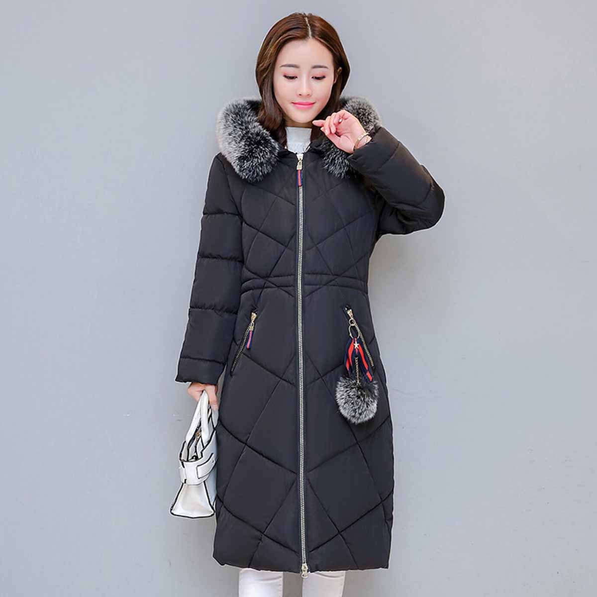 Women White Duck Down Luxury Thickening Warm Female Down Jacket Hooded Long Down Jacket Lady Knee Length Down Coat Parka