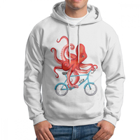 Men Cycling Octopus Cyclists Hoodies Printed Pure Cotton Sweatshirt Hipster Hoodie Shirt
