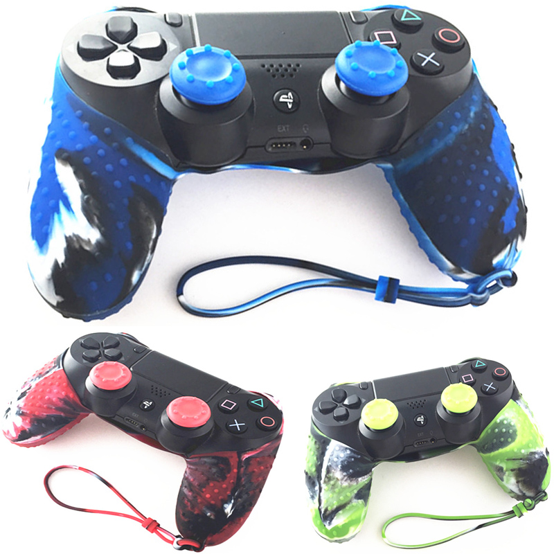 Durable Camouflage Camo Silicone Guard Cover Case Skin JoyStick Caps W/ Strap For Sony Playstation 4 PS4 Slim PS4 Pro Controller
