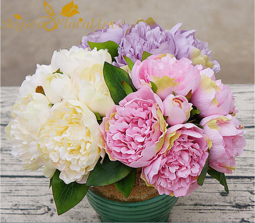 Set Of 10 Country Garden Flower Seed Wedding Favours With: Artificial Flower Bouquet Silk Peony High Quality 6 Heads