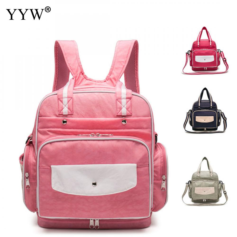 Pink Nylon Backpack Female Laptop Backpacks for Women and Adolescent Girls New Multifunction Travel School Bag Shoulder Bags adolescent