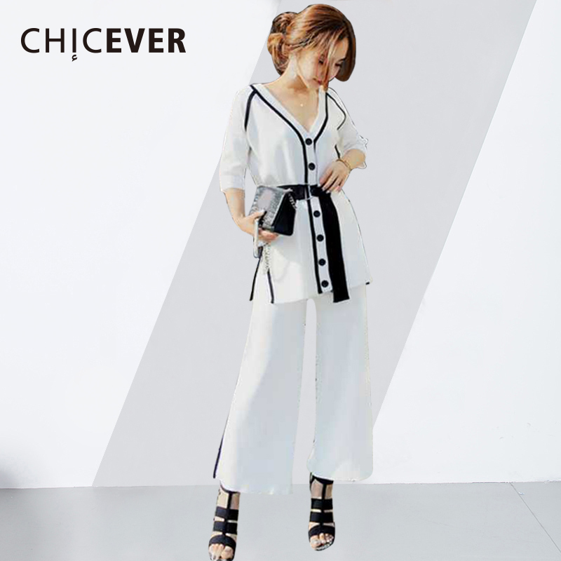 CHICEVER 2018 Two Piece Set Summer Costumes For Women V Neck Single Breasted Knitted Top High Elatic Waist Pants Fashion New