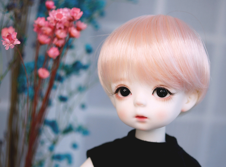 "Aggressive Liglamorous Bjd Doll Hair Wigs For 1/4 Short Bjd Dd Sd Msd Doll Head Circumference 7"" High-temperature Wire Light Pink To Win Warm Praise From Customers"