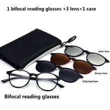 Vazrobe Magnetic Clip on Bifocal Reading sunglasses Men Women 3 lens diopter male presbyopia female grade points round TR90 UV