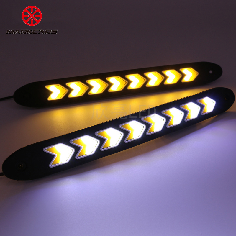 Car styling Daytime Running light DRL Fog light 2Pcs Dual Color super bright Arrow Shape COB Flexible Waterproof Chips 26*2.5cm daytime running light 100% waterproof led drl white and red color day light fog light turning signal flexible car running light