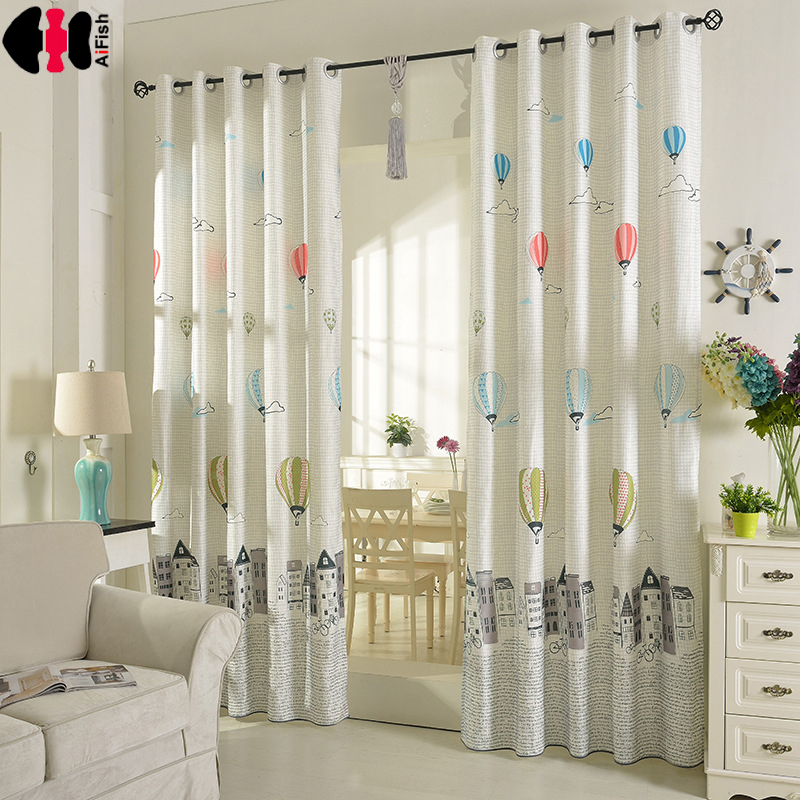 White Balloon Curtains Kids Blackout Curtains Cloth Sheer Tulle Home Decor Curtains For Living