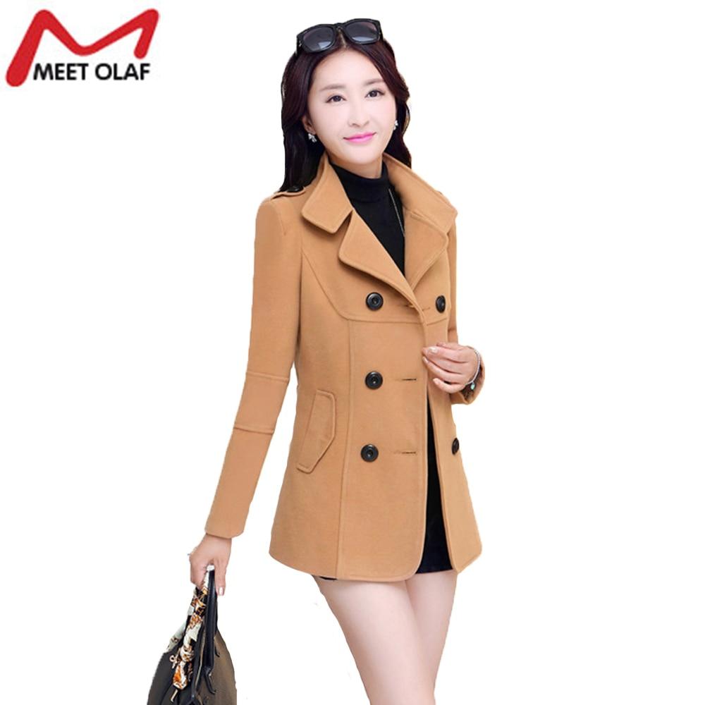 Women s Winter Jackets And Coats Elegant Warm Women Woolen Coat 2017 Spring Outwear Plus Size