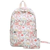 New Small Fresh Canvas Student Purse Bag Female Cartoon Casual Printing Backpack Women Trip School Bag for Teenage Girl