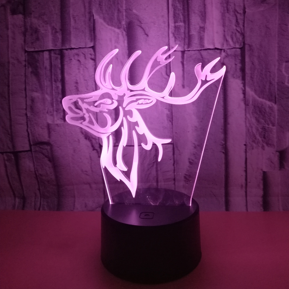Deer Head 3d Lamp Touch Remote Control Led Visual Lamp 3d Gift Small Led Night Light Novelty Luminaria De Mesa Night Light 3d moon light touch sensor remote control bedroom novelty night light moon lamp luminaria led for baby kids christmas