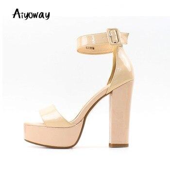 Ladies Peep Toe High Heel Platform Sandals Block Heel Cover Heel Ankle Buckle Aiyoway Fashion Women Summer Party Shoes Nude