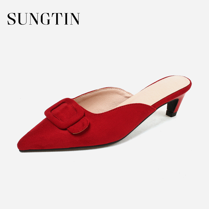 Sungtin Cute Bowknot Slip On Slippers Women Casual Suede Kitten Heel Mules Female Sexy Pointed Toe Summer Slippers Red Big Size women sexy high heel mules clogs pointed toe platform ladies leather sole slippers female slip on sandal shoes