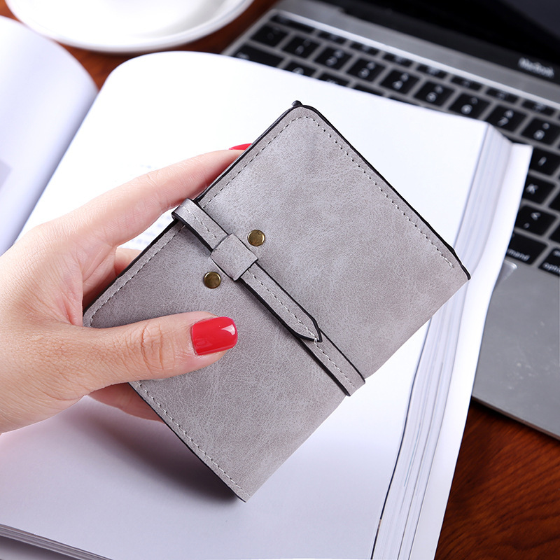 Fashion Women Wallets Short Clutch Wallet Vintage Matte Lady Coin Purse Small Female Purse Short Wallet Pu Leather Card Holder