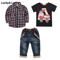 Kids Clothing Set Boys Clothes Plaid Shirt With Cotton T Thirt And Jeans Baby Boys Clothes
