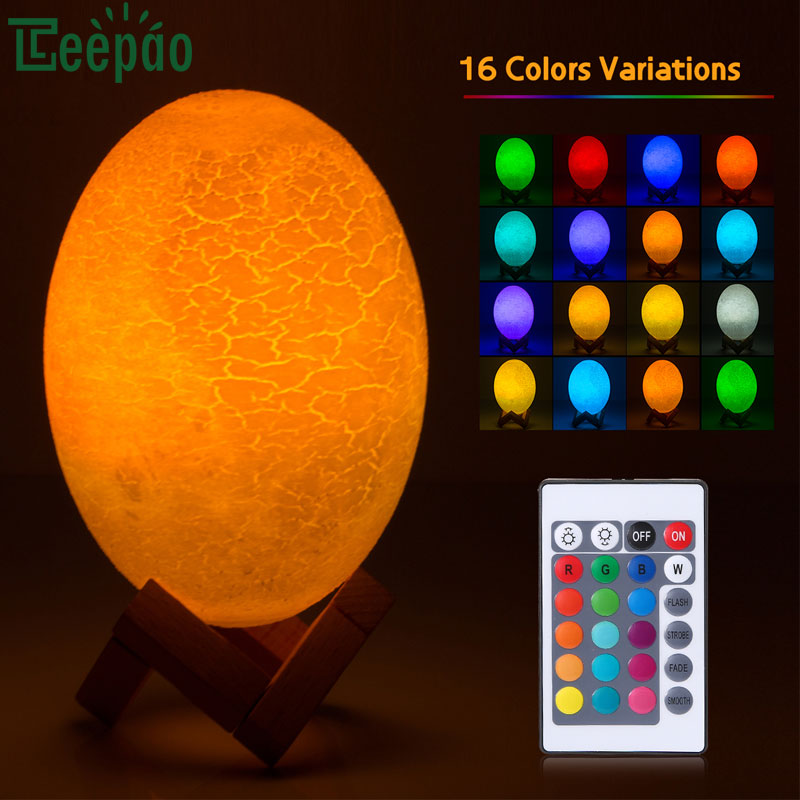 3D Print Dinosaur egg Lamp Remote Control Bedroom Bookcase Led Night Light USB Rechargeable Night Lamp Home Decor Creative Gift цены онлайн