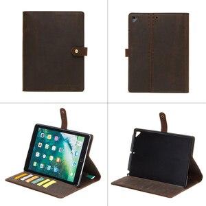 Image 2 - Étui en cuir Nubuck rétro de luxe pour iPad 9.7 2018 5 6 Air 2 Pro 9.7 couverture avec fentes pour cartes porte crayon de poche étui à rabat