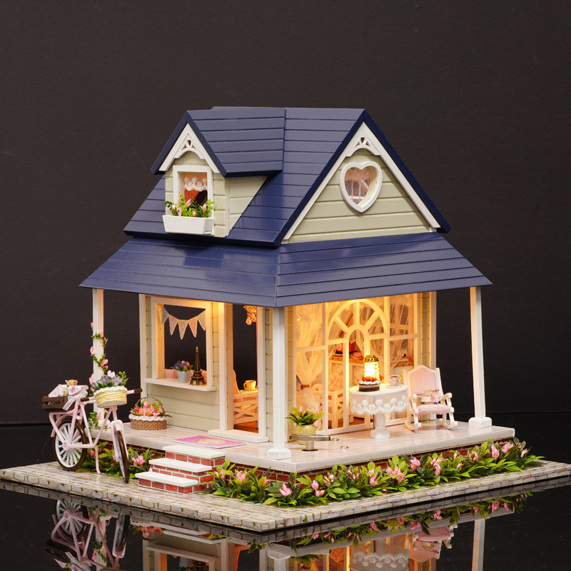 Handmade Wooden Doll House DIY Miniature With Furniture Mini Sofa Bicycle Model Toys Handmade Dollhouse for Birthday Gift DH09 d030 diy mini villa model large wooden doll house miniature furniture 3d wooden puzzle building model