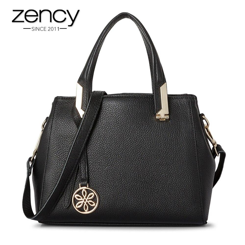 2018 New Arrivals Soft Skin 100% Genuine Leather Fashion Women Tote Bag Classic Black Elegant Female Messenger bolsa mujeres