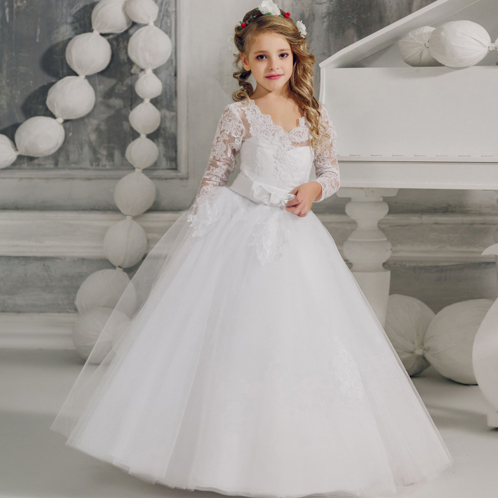V-Neck Flower Girl Dress with Appliques Lace-up Long Sleeves Mesh Ball Gowns Kids Holy Communion Dress 1-14 Year Old цена и фото