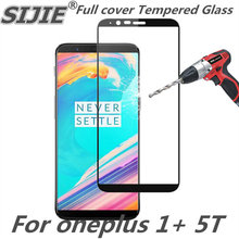 Full cover Tempered Glass For oneplus 1+ 5T Screen protective 5 T 1+5T black 6 inch smartphone toughened display on smartphone nylon 5t rear on road wheel set for 1 5 baja 5t ts h95167 wholesale and retail free shipping without inner foam