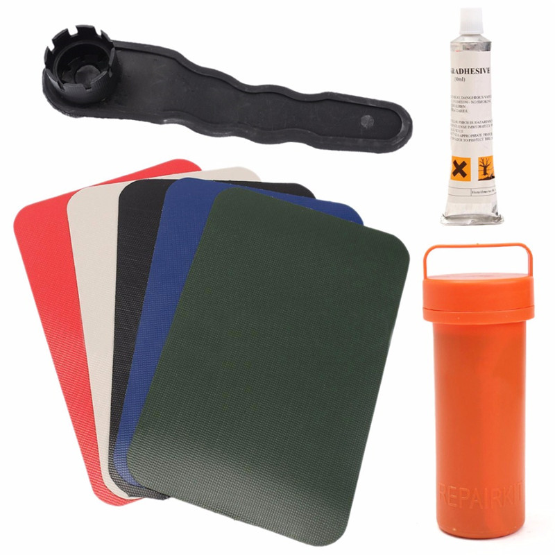 US $8 24 18% OFF|3Pcs Kayak Inflatable Boat Puncture Repair Kit PVC Patch  Glue Kits Adhesive For Canoe Waterproof Valve Wrench Container Bucket20-in