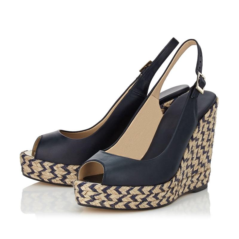 517e123c6 Temperamento de Salto Cunhas Sapatos Feitos À Mão Colorido Stripe Peep Toe  Calçados Femininos Sandálias Gladiadores Sandálias Sapatos Tamanho Grande  TL- ...