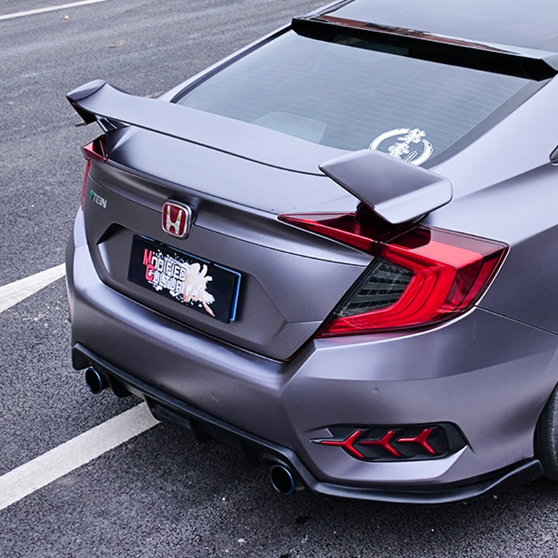 MONTFORD Car Accessories For Honda Civic Spoiler 2016 2017 Auto ABS Plastic Unpainted Primer Rear Trunk Boot Wing Lip Spoiler car rear wing trunk lip spoiler for suzuki vitara 2016 2017 2018 accessories styling