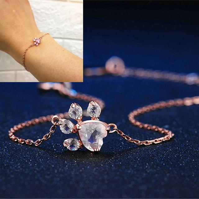 Hot Fashion Shiny Pink Bracelets Bear Jewelry Dog Paw Print Female Rose Gold Small Animal