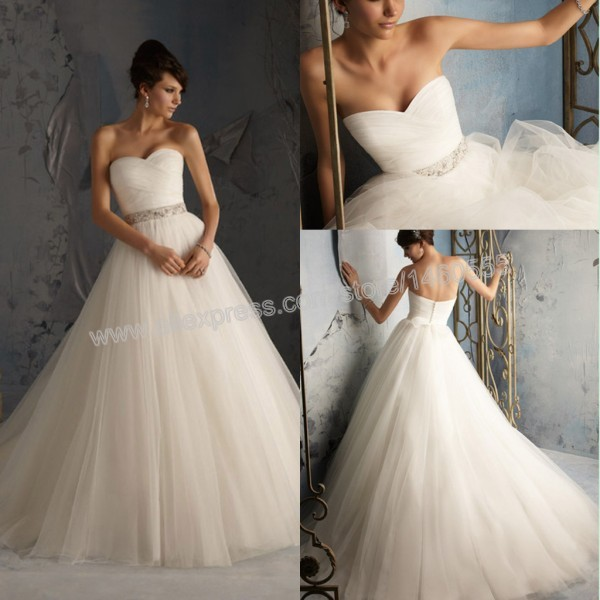 Sweetheart Crisscross Floor Length Sweep Train Backless Off Shoulder Tulle Plain Simple Wedding Dresses Ball Gown In From Weddings Events