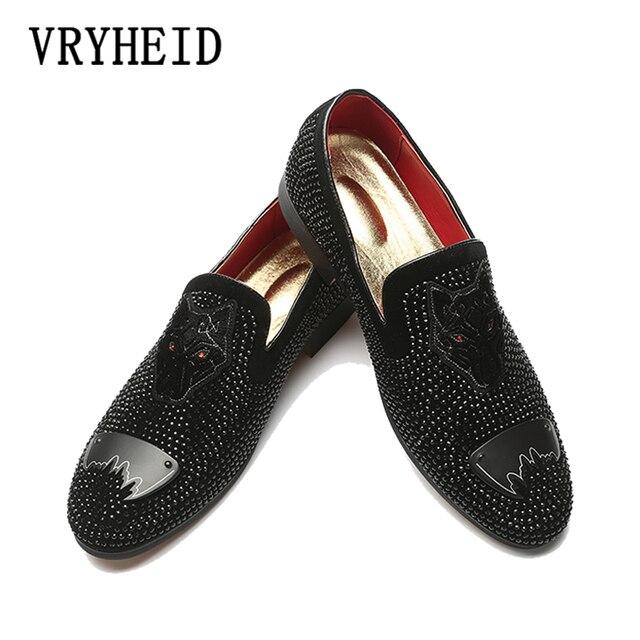 VRYHEID men giày đế kích thước Lớn dành cho người lớn thiết kế thời trang Rhinestone Đen ăn mặc Giày thương hiệu sang trọng xã hội lái xe mens giày giản dị