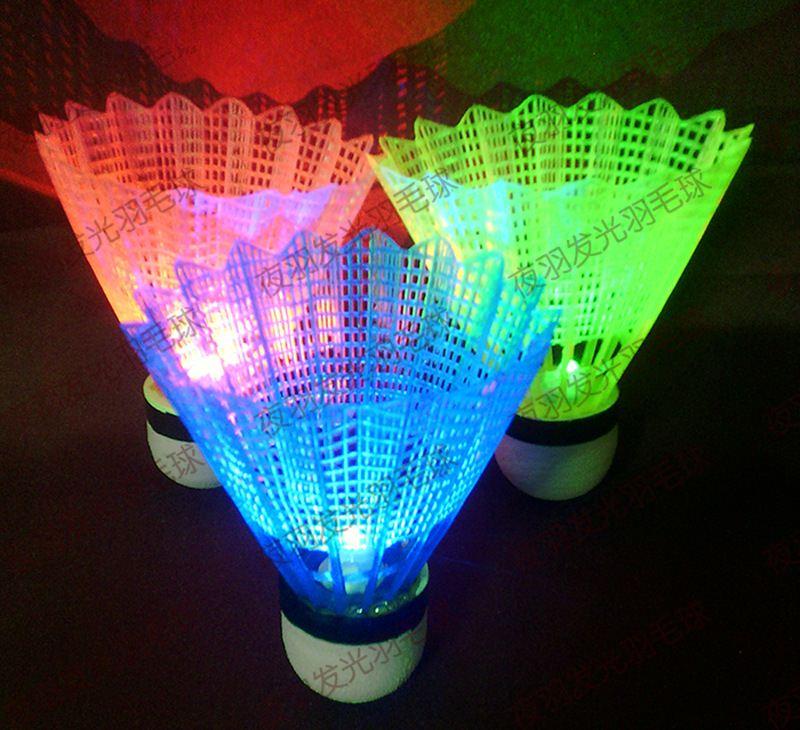 12Pcs Novelty Sports Dark Night LED Glowing Light-up Plastic  Badminton Birdies Shuttlecocks