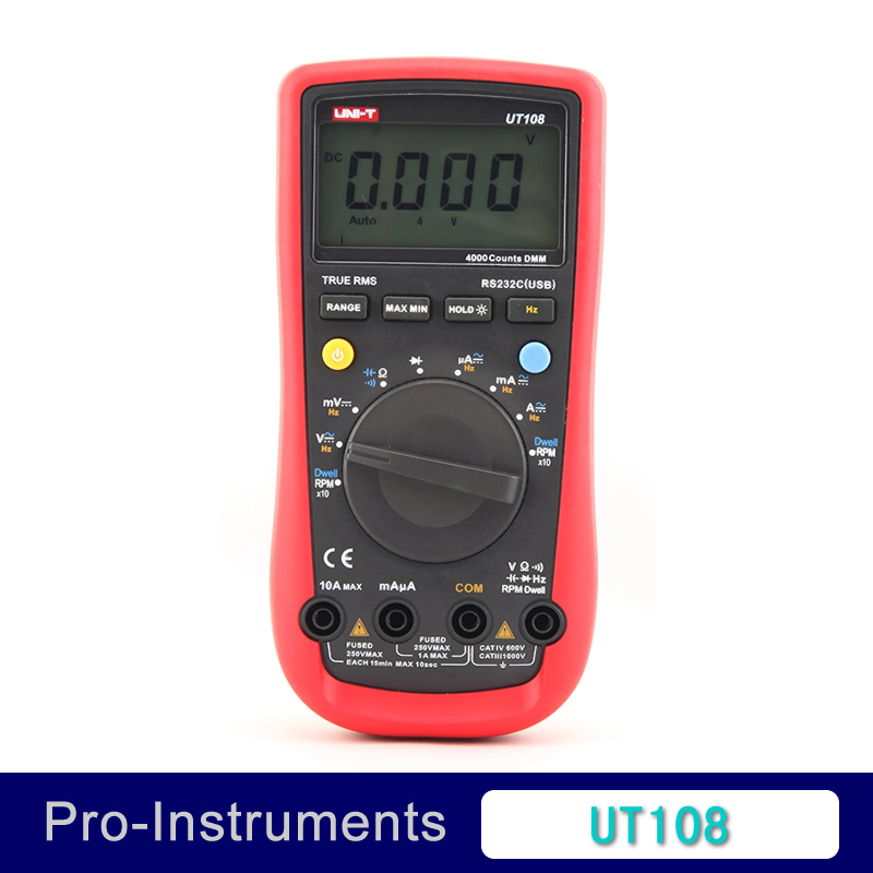 UNI-T UT108 4000 counts DMM Tach Dwell Auto Range True RMS Digital Multimeter with usb interface 100% original fluke 15b f15b auto range digital multimeter meter dmm