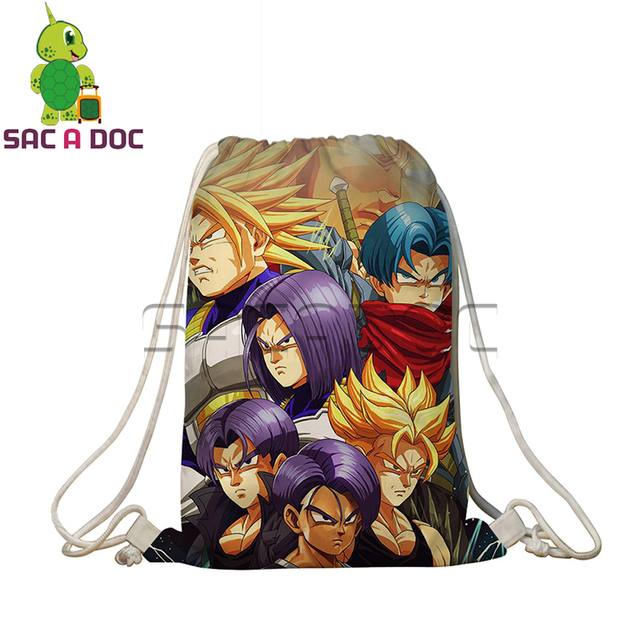 Dragon Ball Z Drawstring Bag Super Saiyan Goku Vegeta Trunks Prints
