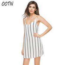 OOTN Striped Sundress Women 2018 Slip Dress Female Straight Sleeveless Deep V Neck Mini Dresses Spaghetti Strap Beach Casual