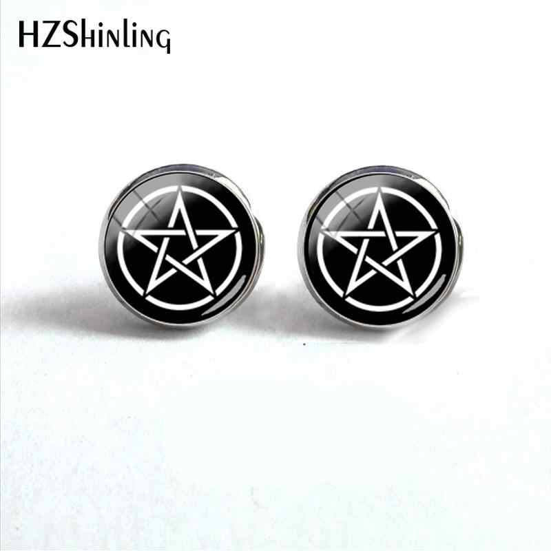 2018 New White Pentagram Earring Occult  Wiccan Earrings Silver Handmade Jewelry Glass Dome Ear Stud For Women HZ4
