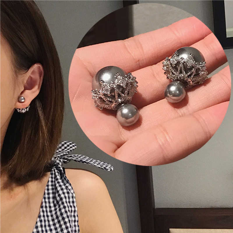 Korean Fashion S925 Sterling Sliver Stud Earrings Double Sided Gray Simulated Pearl AAA Zircon Earring for Women Wedding Jewelry