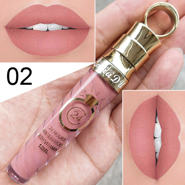 Make-up Lips Frosted Liquid Lipstick Proof Long Lasting Water Sexy Pigment Nude Style Glitter Lip Gloss Beauty Red Lip Tint JLRS