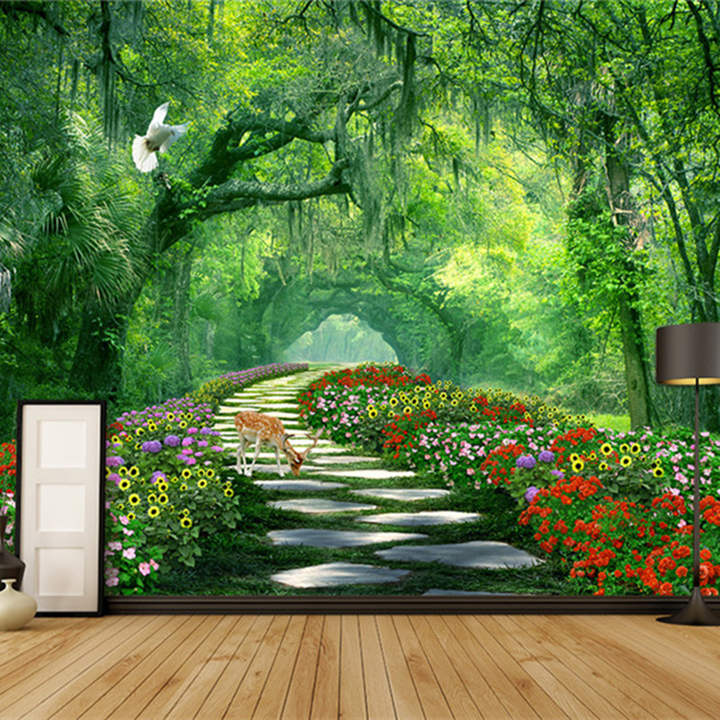 Large Custom Photo Wallpapers 3D Flower Wallpaper Nature Landscape Green Forest Tree Walls Murals Living Room Bedroom Home Decor shinehome sunflower bloom retro wallpaper for 3d rooms walls wallpapers for 3 d living room home wall paper murals mural roll