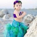Feito à mão Festa Vestido Tutu Meninas Cosplay Crianças Pequena Sereia Tulle Vestido Com Top Bola Vestido Da Menina De Bebê Do Dia Das Bruxas Traje Da Princesa