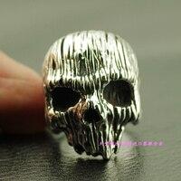 Череп древесины зерна череп мужской тайский серебряное кольцо 925 чистого серебра