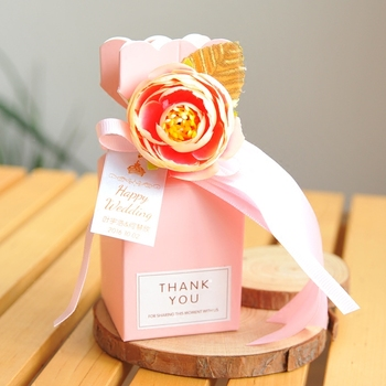 Romantic pink red vase shaped candy boxes personalized wedding party favor gift box free shippping 50pcs