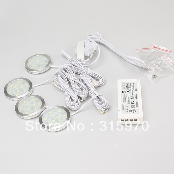 LED Round Slim Simple Style SMD5050 Cabinet Light 9leds AC110 220V Back Lighting Display 15W Power Driver with Junction Box