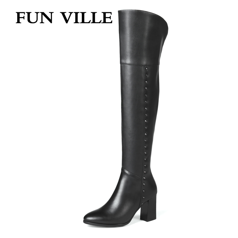 все цены на FUN VILLE 2018 New Style Women over the knee Boots Genuine Leather Winter High heel Boots Warm Pointed toe Zipper Big size 34-45