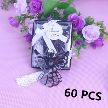 60PCS Party Favor Angel Silver Metal Bookmark Boxed For Baptism Baby Bridal Shower Christening Wedding Favours Bomboniere