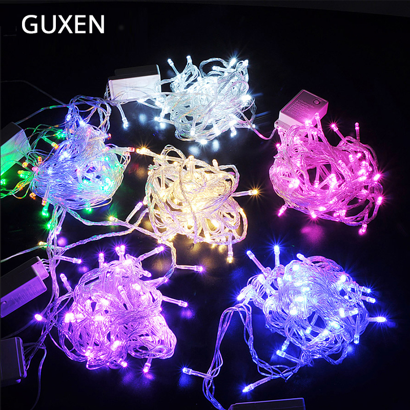 GUXEN Led string cahaya 10M100 leds 220 V / 110 V Luar tahan air Lampu Natal string untuk Garden Party Holiday Dekorasi