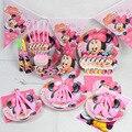 Niños Caso de La Fiesta De Cumpleaños Vajilla Conjunto Minnie Tema Evento Fiestas Juguetes Niños Niñas Favor 90 unids