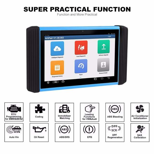 TOPDON ArtiPad I Diagnostic Tool Bluetooth Wireless OBD2 Automotive Scanner  with ECU Coding & Programming for with 2 Year Update