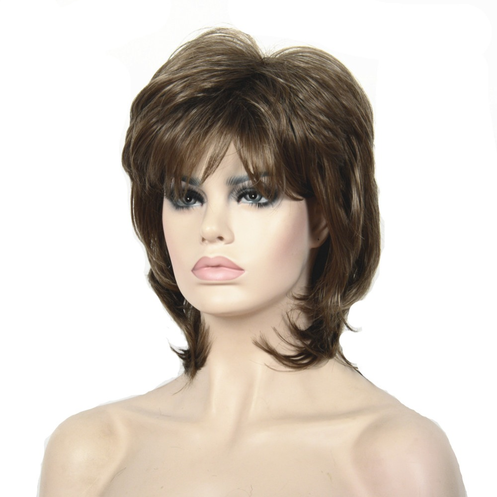 StrongBeauty Women Synthetic Wig Short Hair Black/Blonde Natural Wigs Capless Layered Hairstyles