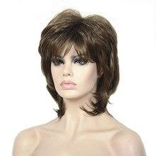 Strongbeauty peruca sintética do cabelo curto preto/loiro natural perucas capless em camadas penteados