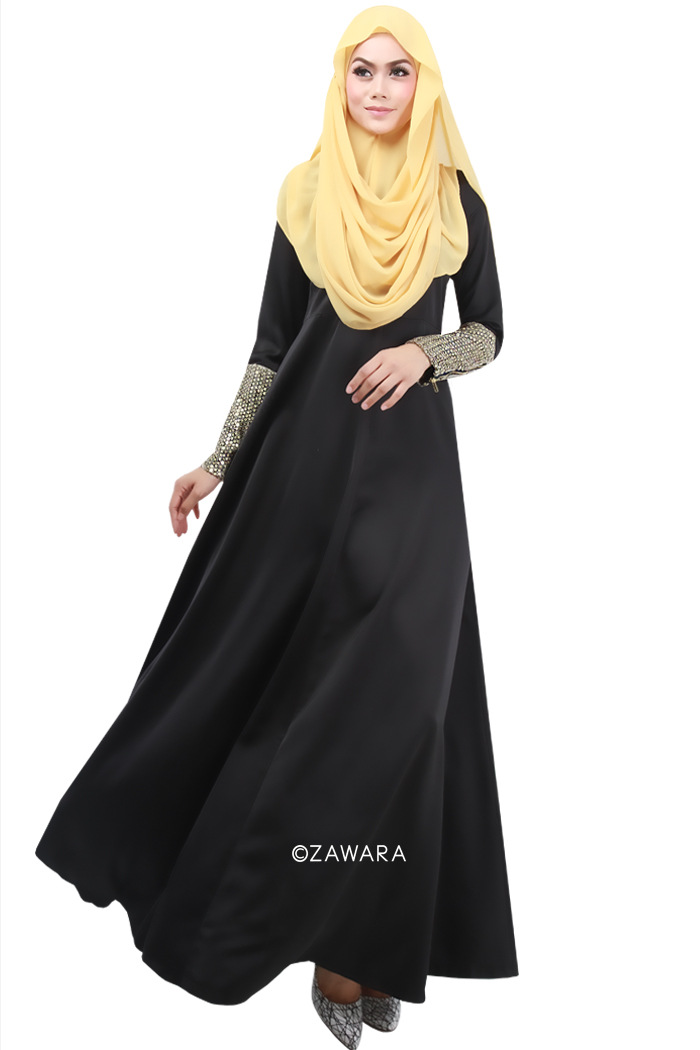 Hand Embroidered Black Kaftan for Celebrations// Islamic Clothing Long Dress