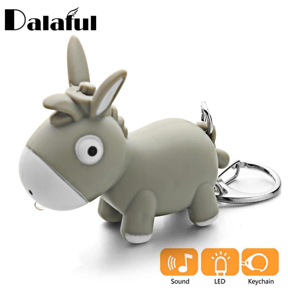 LLavero de burro lindo con luz LED y linterna de sonido juguetes creativos para niños llaveros divertidos cadenas regalo de joyería para mujer k389